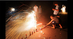 Kids Lighting Fireworks